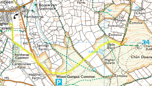 Route from Carn View Terrace to Chun Quoit